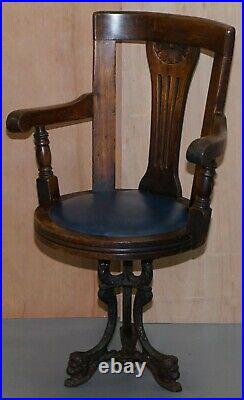 Victorian Cast Iron Lion Base Blue Leather Ships Captains Swivel Office Chair