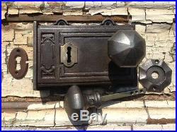 Victorian Style Davenport Cast Iron & Brass Rim Lock Door knobs & Escutcheon