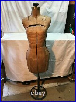 Vintage 1930s 40s Cardboard Dress Form Adjustable Cast Iron Stand Store Display