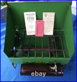 Vintage 1938 417B Coleman Camp Stove Cast Iron 2 Burner with Original Paperwork
