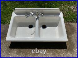Vintage 1940 Cast Iron Porcelain Kitchen Utility Sink