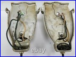 Vintage Amazing Pair Art Deco Sconces Fixture Slip Shade 1930 Virden Original