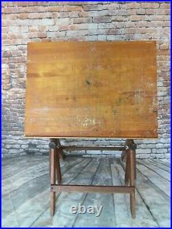 Vintage Anco Bilt Wood/cast Iron Adjustable Height Industrial Art Drafting Table