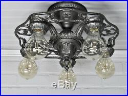 Vintage Antique Art Deco Semi Flush Mount Ceiling Light Cast Iron Chandelier