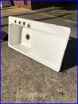 Vintage Antique Cast Iron Porcelain White Farmhouse Sink with Drain Board