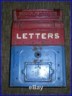 Vintage Antique Original U. S. Postal Service Mailbox Letter Drop Cast Iron Box