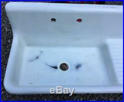 Vintage Antique Porcelain Coated Cast Iron Kitchen Farm Sink