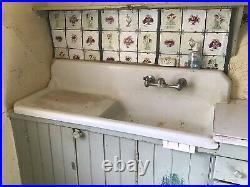 Vintage Antique Porcelain Coated Cast Iron Kitchen Farm Sink Vermont