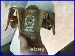 Vintage Cast Iron 5 Bulb Ceiling Light Fixture Stars, Laurel, Military