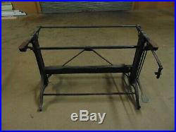 Vintage Cast Iron Drafting Table With Foot Pedal Height Adjustment 1930s