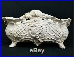 Vintage Cast Iron Planter Jardiniere Victorian French Ornate Footed Urn Antique