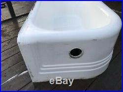 Vintage Cast Iron Porcelain Corner Bath Tub
