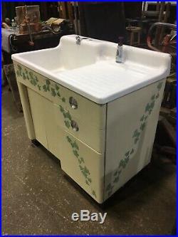 Vintage Cast Iron Porcelain Drainboard Kitchen Farm Sink 42 Metal Base Cabinet