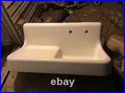 Vintage Cast Iron Single Basin Left Sided Drainboard Farmhouse Kitchen Sink