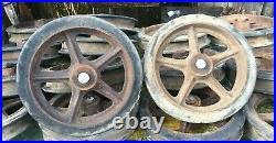 Vintage Cast Iron Wagon/ Cart Wheels Pair 12.5 Diameter x 2.5in Train Cart