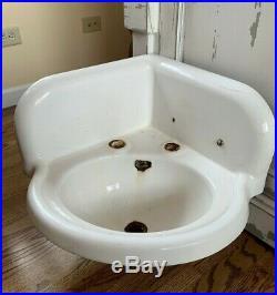 Vintage Cast Iron White Porcelain Corner Sink