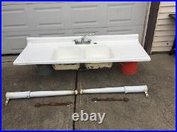 Vintage Cast Iron White Porcelain Double Sink And DrainBoard