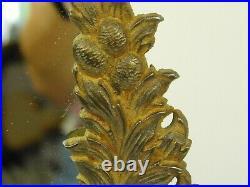 Vintage Cast Metal Brass Victorian Cherubs Table Vanity Round Mirror 12x12