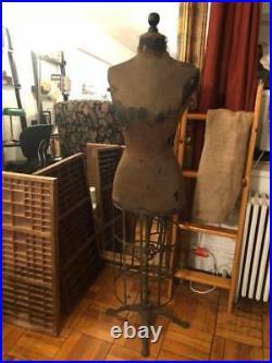 Vintage Dress Form Mannequin with Cast Iron Base Antique Primitive