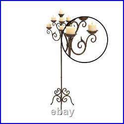 Vintage Floor Candelabra Stand, Tall 7-Candle Votive Pillar Holder, Metal Scroll