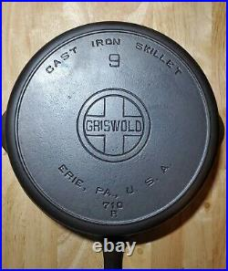 Vintage Griswold Cast Iron Skillet #9 Large Block Logo 710 R with Heat Ring