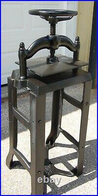 Vintage Heavy Cast Iron Book Press on Metal Stand, Hand Wheel Binder Printing