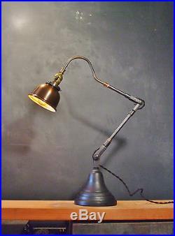 Vintage Industrial Desk Lamp Machine Age Task Light Cast Iron Steampunk