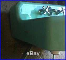 Vintage Jadeite Cast Iron Sink Art Deco Bird Bath