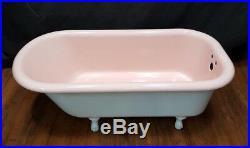 Vintage Pink & White Standard Size Restored Cast Iron Claw Foot Bath Tub