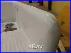 Vintage Porcelain Cast Iron Kitchen Farm Sink with Adjustable Leg