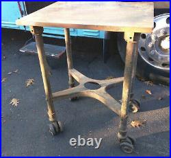 Vintage Printing Press Turtle Table Iron Hardware Industrial Restoration Cart