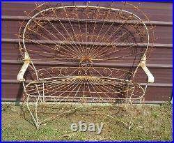 Vintage Twisted Iron Peacock Bench Very Rare Authentic