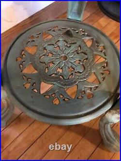 Vintage Victorian Cast Iron & Marble Pub Bistro Side Table Art Nouveau