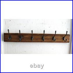 Vintage Wooden Coat Rack Antique Cast Iron Hook Reclaimed Handmade Coat Hooks