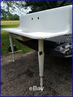 Vintage porcelain coated Cast Iron Kitchen Farm Sink with adjustable legs Antique