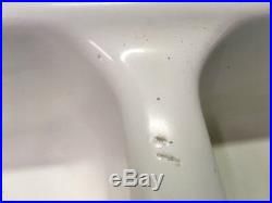 Vtg Cast Iron Porcelain Double Drainboard Basin Farmhouse Kitchen Sink 789-17E