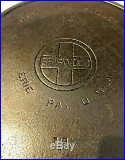 Vtg Griswold 14 Cast Iron Skillet 718 A Large Block Logo Erie Rare Antique Pan