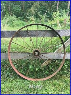 Vtg Industrial Primitive Farm Country Cast Iron Metal Wagon Wheel Tractor 48in