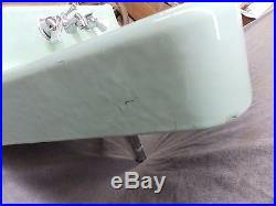 Vtg Jadeite Green Porcelain Cast Iron Shelf Top Sink AS IS Old Bathroom 1879-16