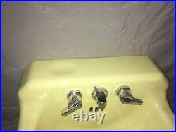 Vtg Mid Century Chiffon Yellow Porcelain Cast Iron Shelf Back Sink Bath 440-20E