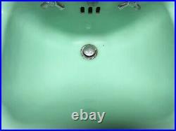 Vtg Mid Century Jadeite Green Porcelain Cast Iron Shelf Back Sink Bath 394-20E