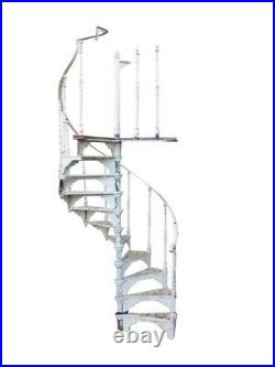 White Cast Iron Spiral Staircase With Landing Plate Antique