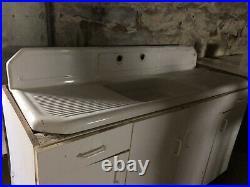 White Heavy Cast Iron Porcelain Farm Kitchen Sink Cabin cottage Drain Board
